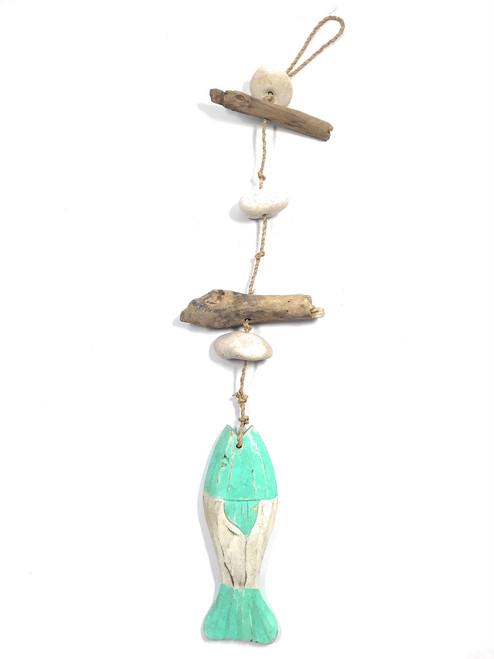 "Driftwood Garland w/ Fish 20"" & White Stone - Turquoise | #lis3100750"