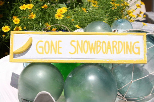 """GONE SNOWBOARDING"" NAUTICAL SIGN 12"" YELLOW - NAUTICAL DECOR"