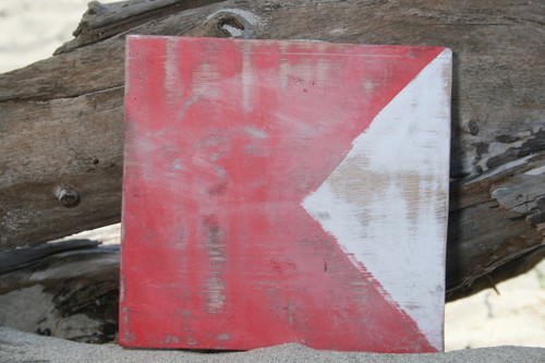 """B"" NAUTICAL RUSTIC FLAG 8' X 8' - WOOD PANEL - NAUTICAL DECOR"