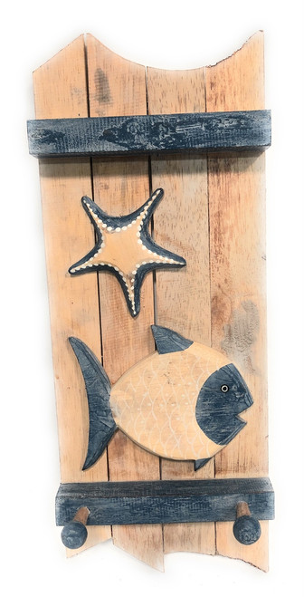 "Fish & Starfish Hanger 20"" w/ 3 Pegs - Rustic Whitewash Coastal Decor 