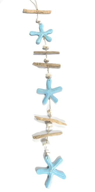 "Driftwood Garland Star Fish w/ White Stone 40"" Blue - Rustic Cottage Accents 