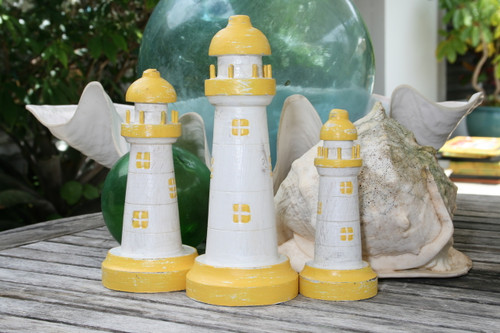"SET OF 3 ""LIGHTHOUSES"" - RUSTIC YELLOW & WHITE NAUTICAL - NAUTICAL DECOR"