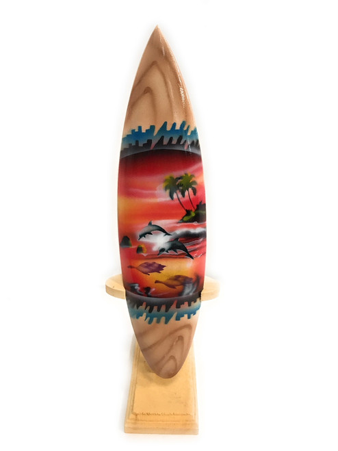 "Surfboard w/ Stand Sunset Design 8"" - Trophy   #lea02g20"