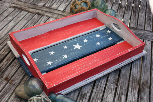 "Americana Wooden Tray 20"" - Beach House Decor 2"