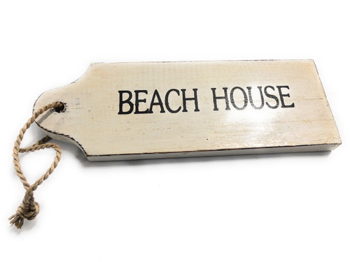 "Beach House Door Tag Wood Sign 9"" - Rustic Coastal | #snd25060"