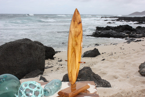"Surfboard Trophy 12"" w/ Base - Teak Root Wood"