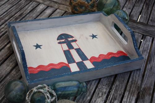 """Americana Wooden Tray 20"""" - Light House Decor"""
