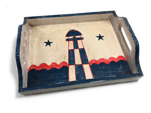"Americana Wooden Tray 16"" - Light House Decor 