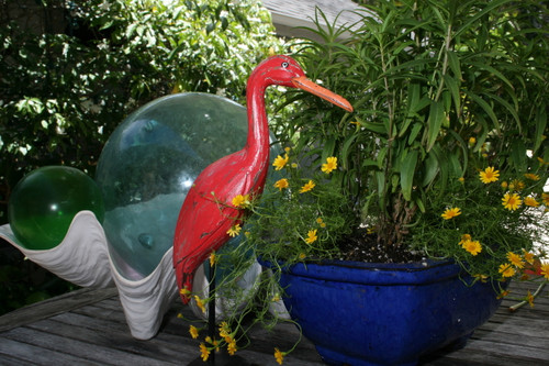 """EGRET BIRD"" - RUSTIC RED COASTAL 14"" - GARDEN/HOME DECOR 3"