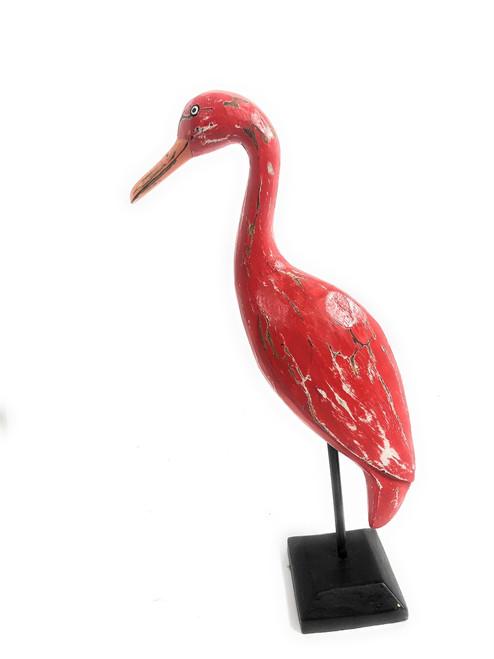 "Egret Bird 14"" - Decorative Wooden Bird Rustic Red | #ort1705134r"