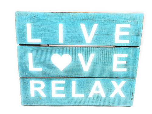 """Live, Love, Relax"" Beach Sign on Wood Planks 12"" X 9.5"" 