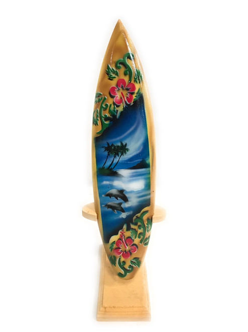 "Surfboard w/ Stand Dolphins & Hibiscus Design 8"" - Trophy 