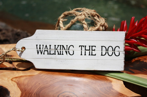 """Walking The Dog"" Door Tag Wood Sign 8"" - Rustic Coastal"