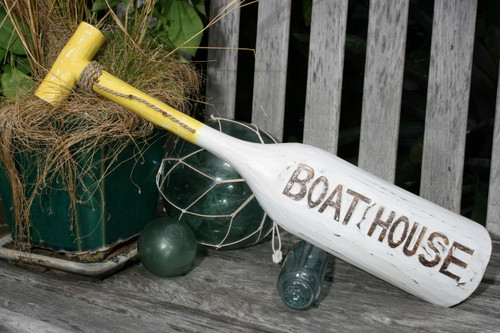 """BOAT HOUSE"" PADDLE 22"" YELLOW - NAUTICAL WALL DECOR"