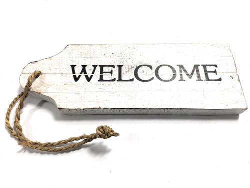 "Welcome Door Tag Wood Sign 9"" - Rustic Coastal | #snd25063"