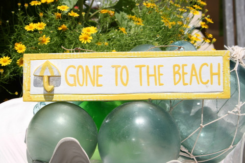 """GONE TO THE BEACH"" NAUTICAL SIGN 12"" YELLOW - BEACH DECOR"