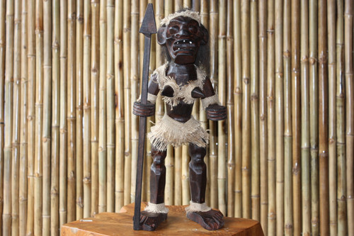 "PRIMITIVE FEMALE TIKI WARRIOR CHIEF 20"" - TRIBAL TIKI DECOR"