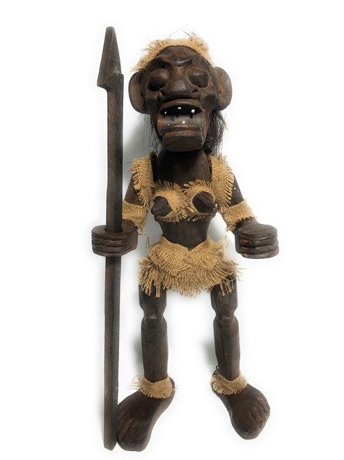 "Female Primitive Tiki Warrior Chief w/ Spear 20"" - Tribal Art | #lge2400250"
