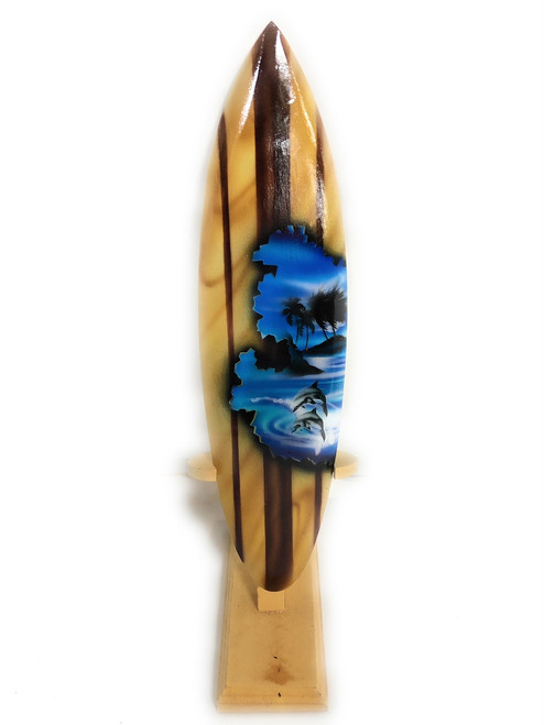 """Surfboard w/ Stand Dolphins Design 12"""" - Trophy 