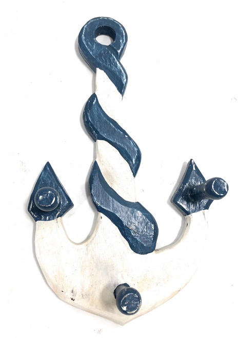 """Anchor Hanger 12"""" W/ 3-Pegs - Rustic Blue Nautical Accent 