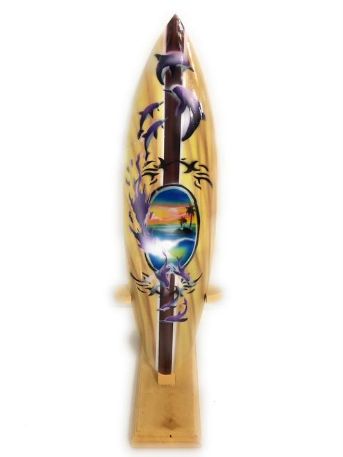 "Surfboard w/ Stand Splashing Dolphins Design 12"" - Trophy | #lea03d30"
