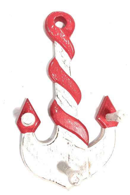 "Anchor Hanger 12"" W/ 3-Pegs - Rustic Red Nautical Accent 