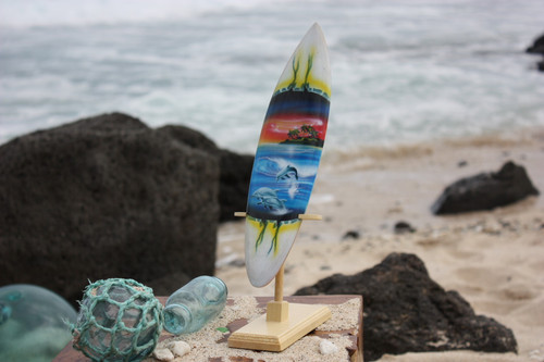 "Surfboard w/ Stand Dolphins In Shorebreak Design 12"" - Trophy"