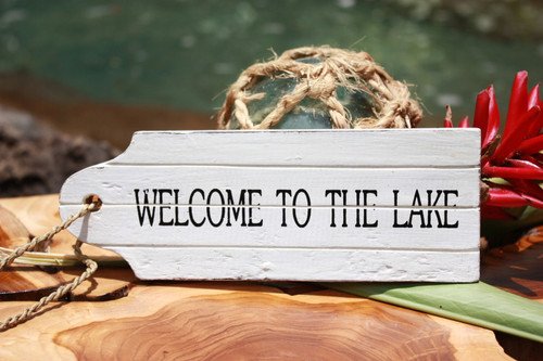 """Welcome To The Lake"" Door Tag Wood Sign 8"" - Rustic Coastal"
