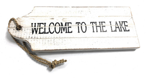 "Welcome To The Lake Door Tag Wood Sign 9"" - Rustic Coastal 