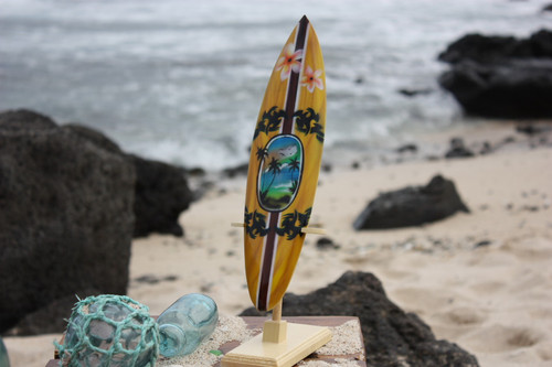 "Surfboard w/ Stand Palms & Plumeria Design 12"" - Trophy"