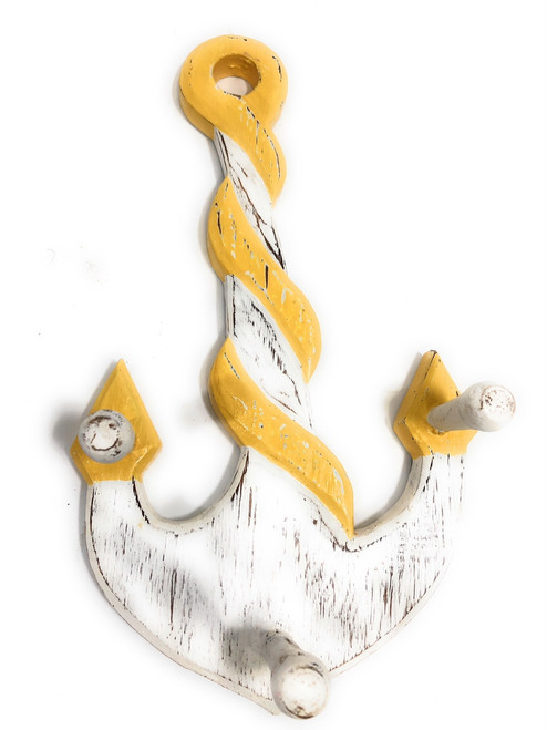 "Anchor Hanger 12"" w/ 3-Pegs - Rustic Yellow Nautical Accent 