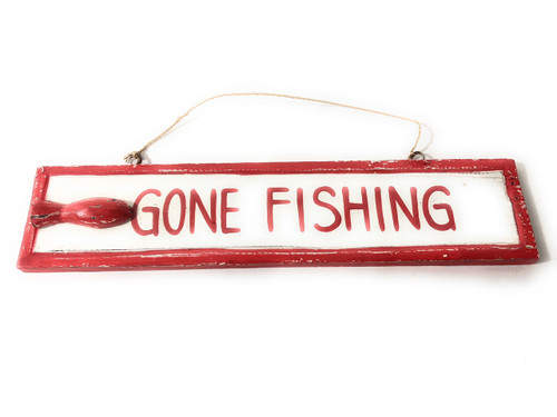 """Gone Fishing 12"""" Wooden Sign - Rustic Nautical Blue 
