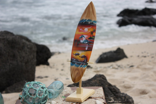 "Surfboard w/ Stand Sunset Design 12"" - Trophy"