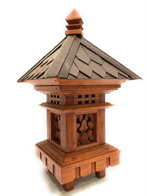 "Balinese Lantern 20"" w/ Shingle Roof & Carvings - Tropical Decor 