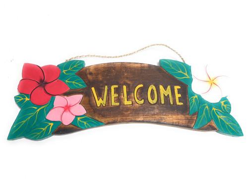 """Welcome"" Sign w/ Plumeria Flowers 16"" - Tiki Bar Decor | #snd2507040"