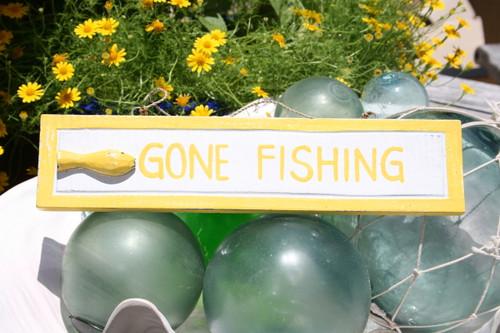 """GONE FISHING"" NAUTICAL SIGN 12"" YELLOW - BEACH DECOR"