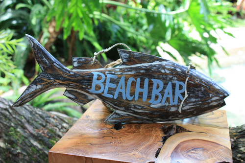 """Beach Bar"" Beach Fish Sign - 16"" - Coastal Decor 