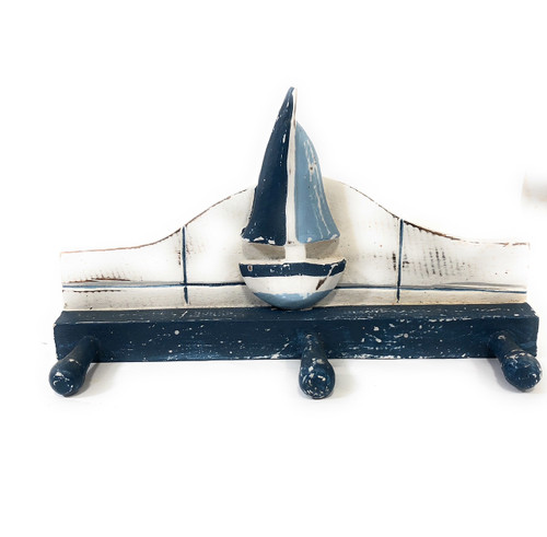 """Sailboat Hanger 12"""" w/ 3 Pegs - Rustic Blue Nautical Accent   #ORT1700328B"""
