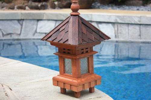 BALINESE LANTERN W/ SHINGLE ROOF TOP & GLASS - 20""