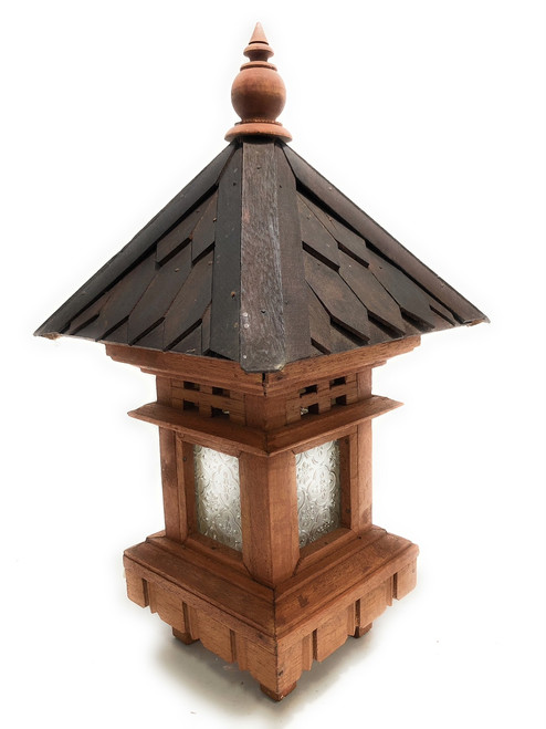 "Balinese Lantern 20"" w/ Shingle Roof & Glass Siding 