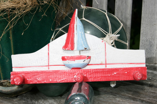 """SAILBOAT"" HANGER - 12"" WHITE & RED NAUTICAL DECOR"