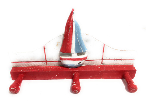 """Sailboat Hanger 12"""" W/ 3 Pegs - Rustic Red Nautical Accent 
