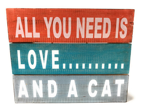 """All You Need is Love... And A Cat"" Beach Sign on Wood Planks 12"" X 9.5"" 