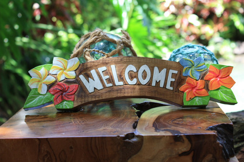 """Welcome"" Sign w/ Plumeria Flowers 12"" - Hawaiiana Decor 
