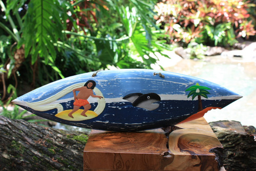 """Surfing With a Shark Surfboard Sign - 20"""" - Surf Decor"""