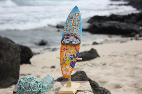 "Surfboard w/ Stand 70's VW Bug Design 12"" - Trophy"