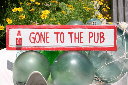 """""""GONE TO THE PUB"""" NAUTICAL SIGN 12"""" RED - NAUTICAL DECOR"""