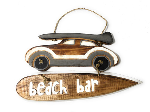"""Beach Bar"" Woody Car Sign - 14"" - Beach Decor 