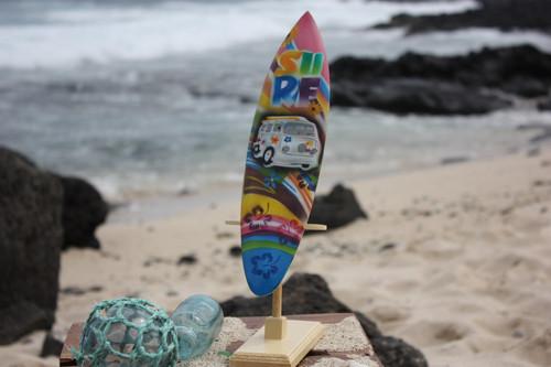 """Surfboard w/ Stand 70's VW Van Design 12"""" - Trophy"""
