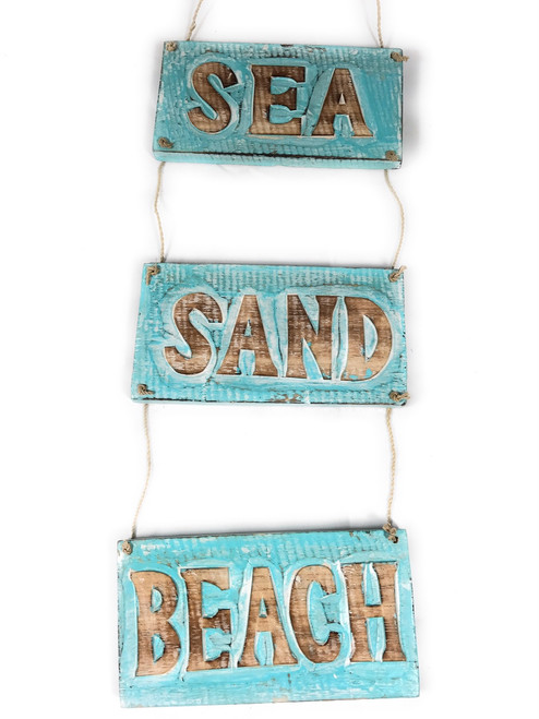 """Sea, Sand, Beach"" Hanging Beach Sign 20"" X 6"" | #nik3213"